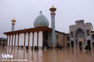 Shah Cheragh Mausoleum on A Rainy Day